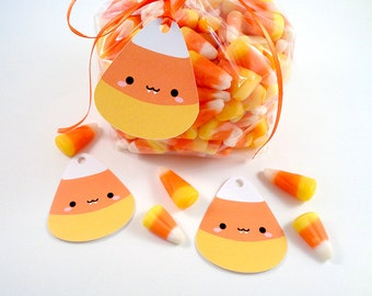Kawaii Candy Corn Vampire Tags Cute Halloween Tags for Trick or Treat Favor Bags - Set of 12 Die Cut Candy Corn Halloween Treat Tags