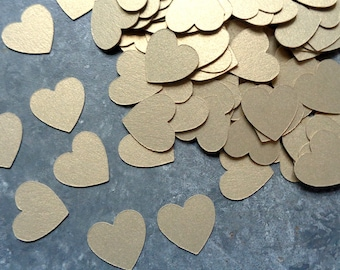 Shiny Gold Hearts Table Confetti Small Cardstock Heart Confetti for Wedding & Engagement 215 Metallic Cardstock Gold Leaf Confetti Hearts