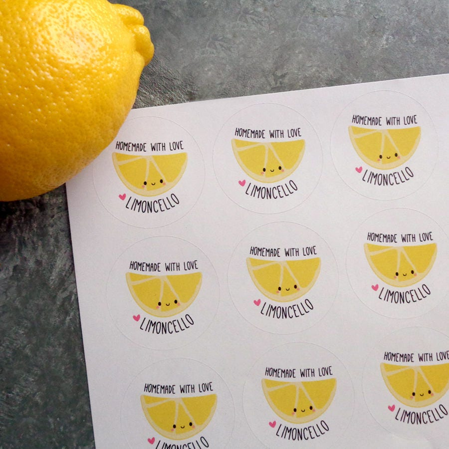 Limoncello Favor Stickers Homemade With Love Limoncello Labels ...