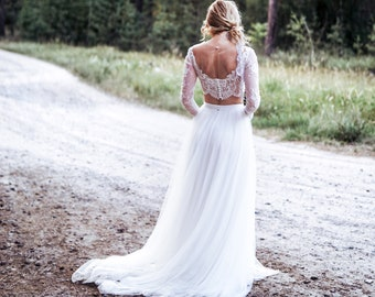 70af57d7c9a1dd Bohemian wedding dress long sleeves //Antea gown/ boho bridal dress, bridal  separates, long sleeves, crop top dress, beach wedding dress