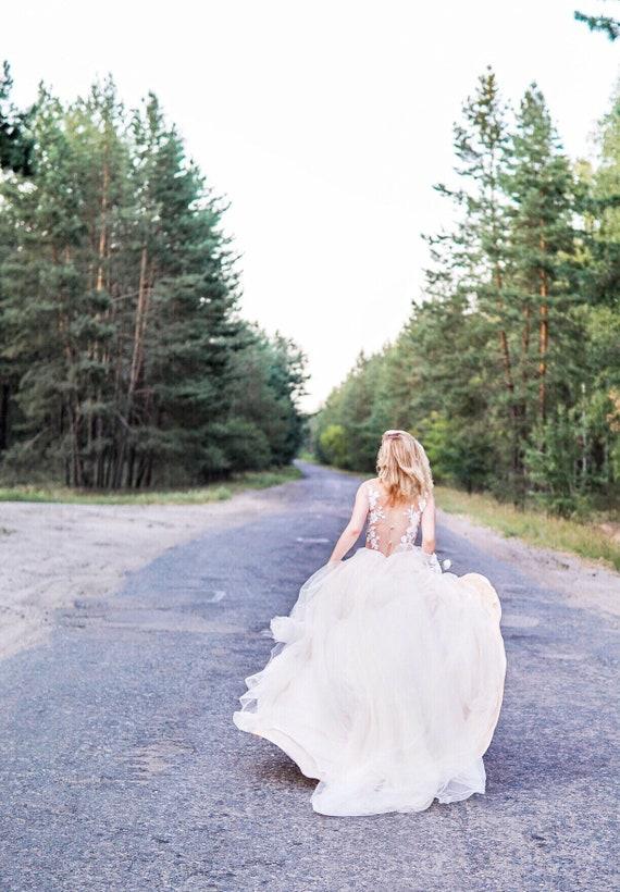 Lace Non Corset Wedding Dress Flora Gown Low Back Etsy