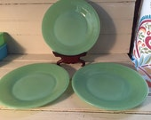 Jadeite Fire King 9 quot Plates lot of 3 Green