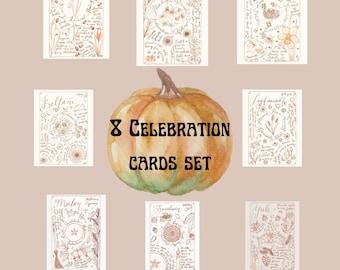 8 Magical Celebration Grimoire Page Greeting Card Set - Plant Magic - Plant Folklore - Shabbat - Witchy Art - Folklore - 8 Card Set