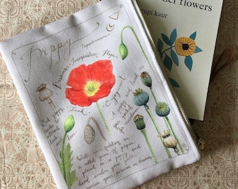 Magical Poppy zippered pouch - Botanical Painting - Charm - Watercolor Painting - Carry-all - Gift for nature lover - Wild flower