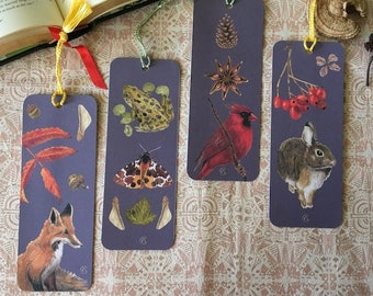 4 Animal Bookmarks - North American Fauna and Flora - Watercolor Botanical Painting - Gift for book lovers - Fox - Moth - Rabbit - Cardinal