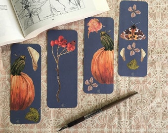 4 Autumn Treasures Bookmarks - North American Fauna and Flora - Watercolor Botanical Painting - Gift for book lovers - Pumpkin - Moth