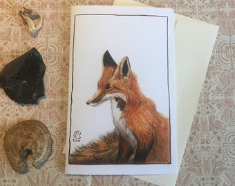 Fox Watercolour Painting Print or Greeting Card - Fall Beauty - Red Fox