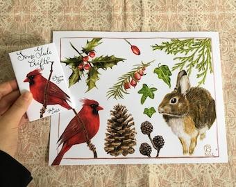 Yule Treasures Zine - Botanical Painting- Yew - Rabbit- Watercolor Painting - Cardinal - Small poster - Evergreen - Christmas - Pinecone