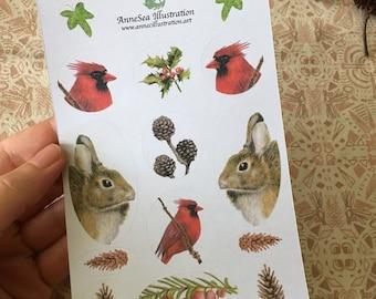 Yule Animal Christmas Sticker Sheet - Envelope Seals - Rabbit - Hare - Cardinal Bird - Yew tree - Evergreen - Watercolour - Round Stickers