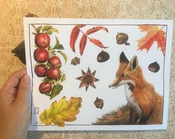 Samhain Fox Art Print - Wall Decor - Botanical Painting - Red Fox - Watercolor Painting - Fall Leaves - Acorn - Chestnut - Apples