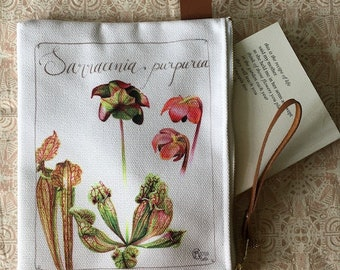 Sarracenia purpurea zippered pouch - Botanical Painting - Charm - Watercolor Painting - Carry-all - Gift for nature lover - Wild flower