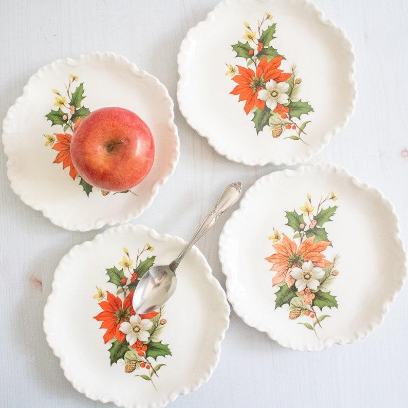 Vintage Poinsettia Plates Set Christmas Dessert Plates Etsy