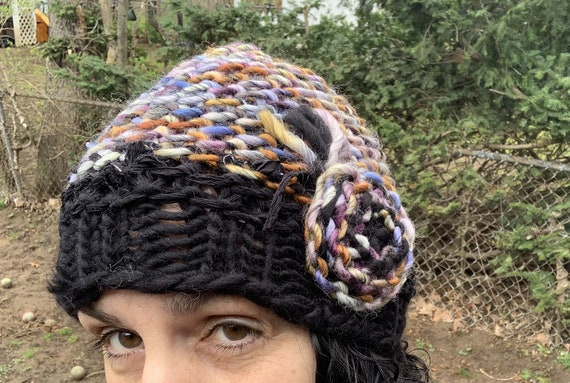 Handspun knit flower hat Skull knit cap Striped knit hat Blues Beanie knit hat