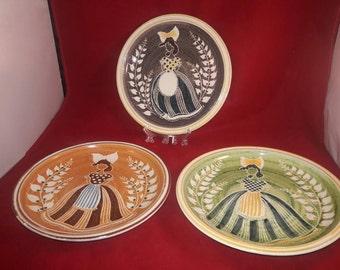 Vintage Painted Terracotta Plates - Terra Keramikk -Multicolored Ladies - 3