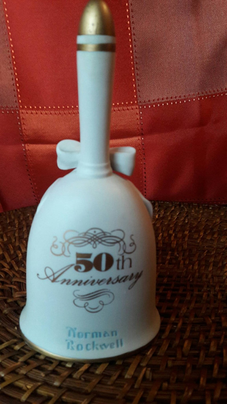 Norman Rockwell 50th Anniversary 1982 Bride and Groom Collectible Bell