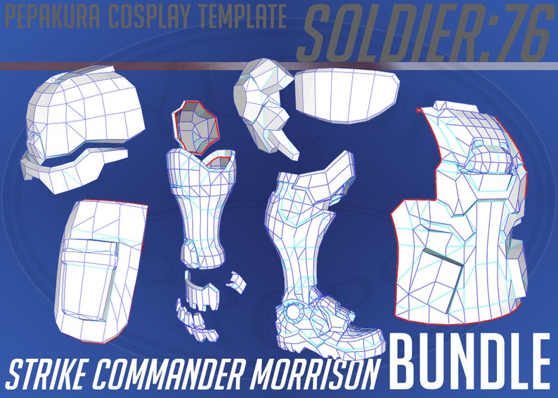 Soldier:76 Strike Commander Morrison Bundle Pepakura Template for Cosplay  with  PDO &  PDF Files