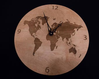 World map wooden magnet world map wooden clock gumiabroncs Images