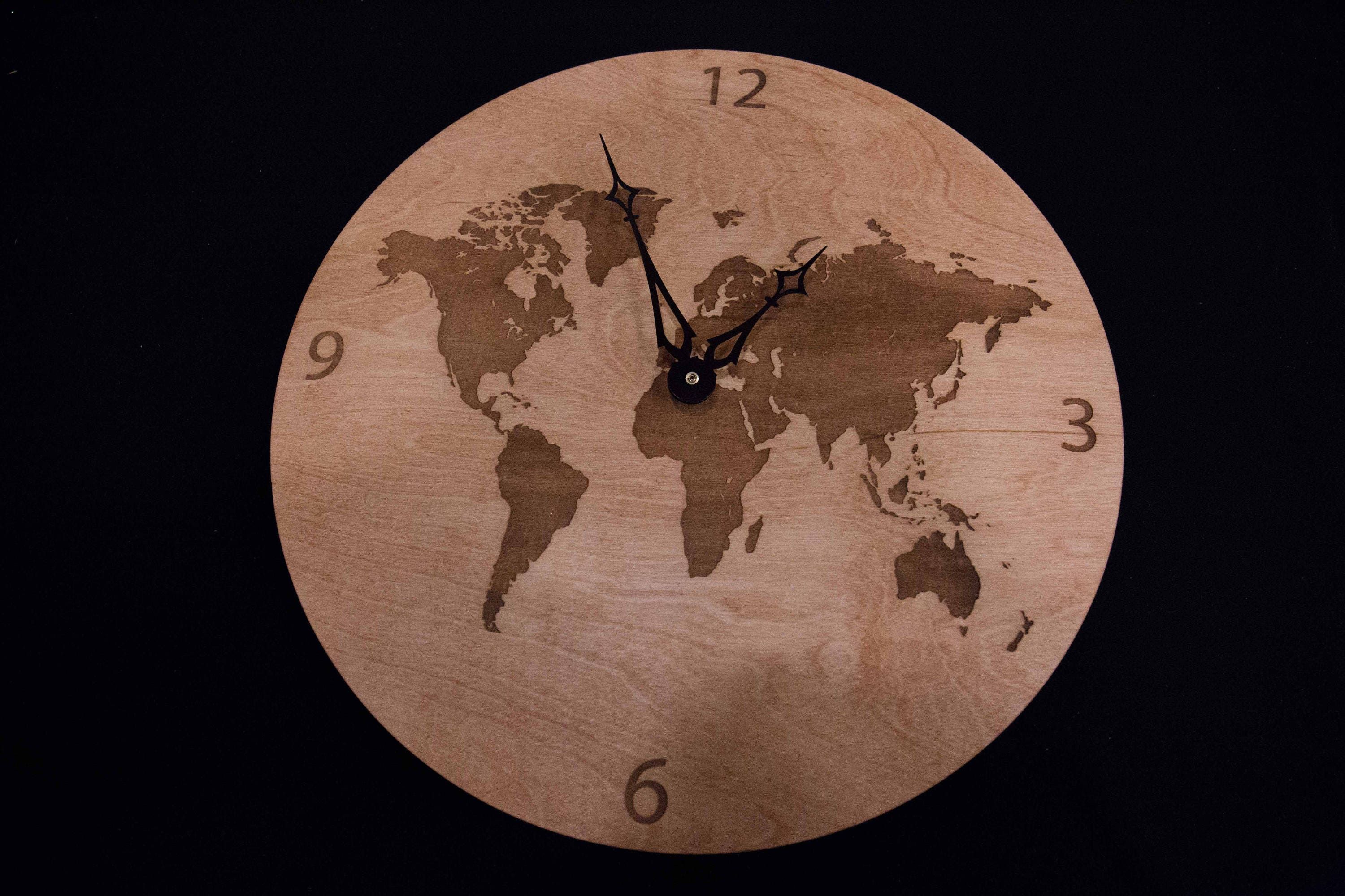 World map wooden clock etsy zoom gumiabroncs Gallery