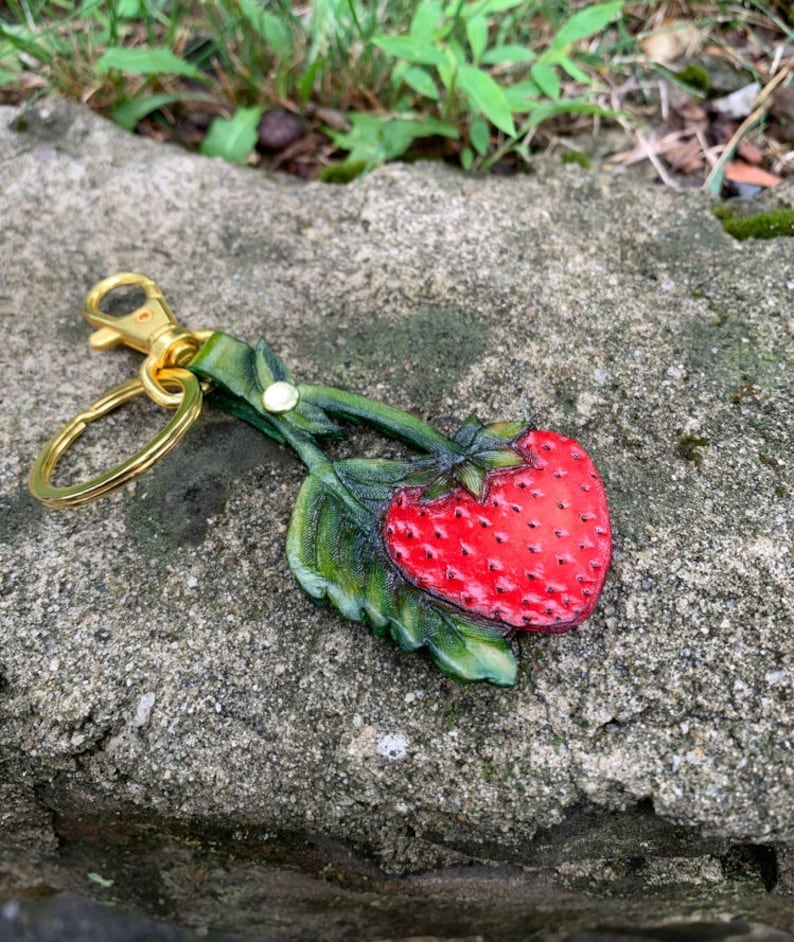 Strawberry Keychain Hand Painted Leather Strawberry Bag Charm