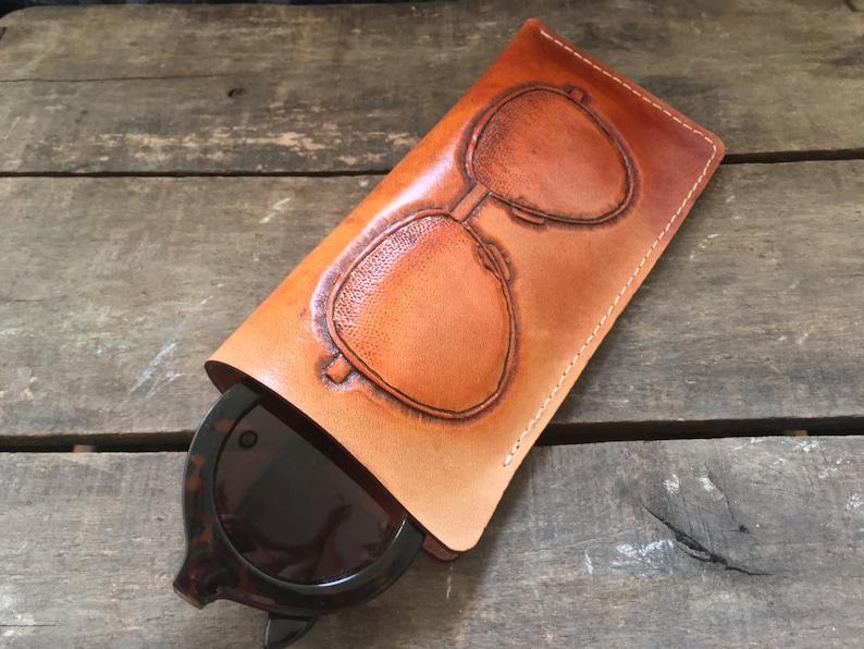 798b494807 Leather Sunglass and Glasses Case w/ hand tooled sunglasses- Aviators,  Cat-eyes, and Wayfarers