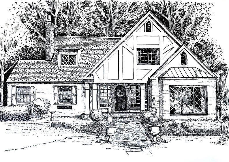 Encre maison portrait, dessin personnalisé, maison croquis, peinture  originale, croquis architectural, dessin de la photo, livraison gratuite