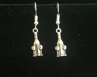 Wine bottle and glass charm earrings