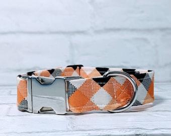 Plaid Dog Collar Fall Dog Collar Black Orange Dog Collar Gray Dog Collar Halloween Adjustable Dog Collar with Metal Buckle