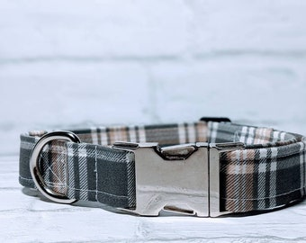 Plaid Dog Collar Fall Dog Collar Autumn Dog Collar Gray Dog Collar Thanksgiving Adjustable Dog Collar with Metal Buckle
