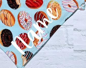 Personalized Donuts Bandana Doughnuts Bandana Food Bandana Sprinkles Bandana Blue Over the Collar Dog Bandana Cat Bandana