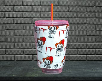 Personalized Pennywise Coffee Cozy Halloween Coffee Cozy IT Clown Coffee Sleeve for Starbucks Dunkin Donuts