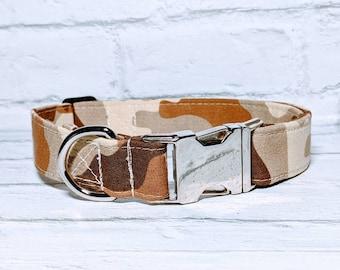 Army Dog Collar Army Camo Collar Tan Camo Collar Camouflage Adjustable Dog Collar with Metal Buckle