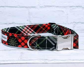 Christmas Dog Collar Plaid Dog Collar Snowflake Dog Collar Red Green Dog Collar Adjustable Dog Collar with Metal Buckle