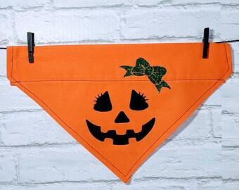 Personalized Pumpkin Bandana Halloween Bandana Jack o Lantern Bandana Over the Collar Dog Bandana Cat Bandana