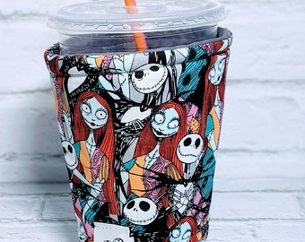 Personalized Nightmare Before Christmas Coffee Cozy Halloween Coffee Cozy Jack and Sally Coffee Cozy Sleeve for Starbucks Dunkin Donuts