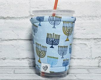 Personalized Hanukkah Coffee Cozy Menorah Coffee Cozy Jewish Coffee Sleeve for Starbucks Dunkin Donuts