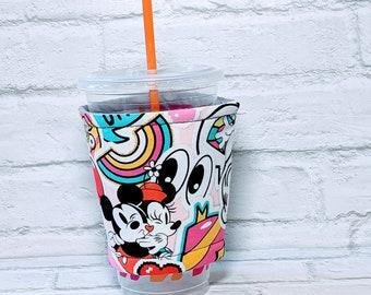 Personalized Minnie Mouse Cozy Disney Cozy Pop Art Cozy Retro Cozy Mickey Mouse Coffee Cozy Sleeve Disney Gifts for Starbucks Dunkin Donuts