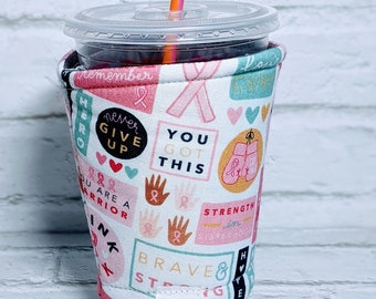 Personalized Breast Cancer Coffee Cozy Breast Cancer Awareness Coffee Cozy Breast Cancer Gifts Coffee Sleeve for Starbucks Dunkin Donuts