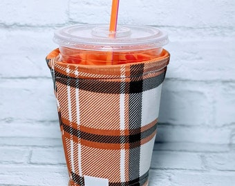 Personalized Fall Coffee Cozy Plaid Coffee Cozy Autumn Coffee Sleeve for Starbucks Dunkin Donuts