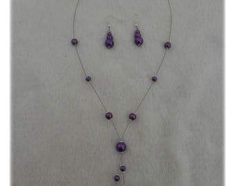 Set wedding party purple pearls