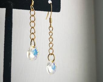 Golden Drip Earrings, Drop Crystal, Simple Earrings, Classic Earrings, Shimmering Crystal