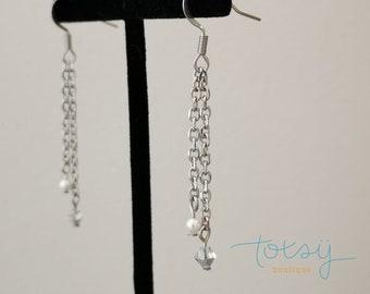 150th earrings, Minimalist stainless steel, crystal and pearl earrings, Crystal, Pearl, Hanging earring