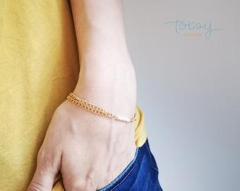 Customizable minimalist bracelet, Golden stainless steel bracelet, Crystal bracelet, Family jewel, Jewel to customize