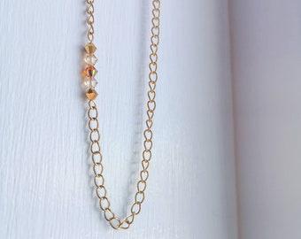 Minimalist necklace made of gold stainless steel, short crystal necklace, crystal necklace, Hypoallergenic, Minimalist, Customizable