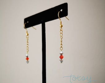 Stainless steel hanging earrings and crystals, Customizable golden earrings, Stainless steel, Crystal jewelry