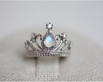 Pear Crown Moonstone Ring Sterling Silver 4x6mm Adjustable Ring, Crown Ring, Silver Crown Ring