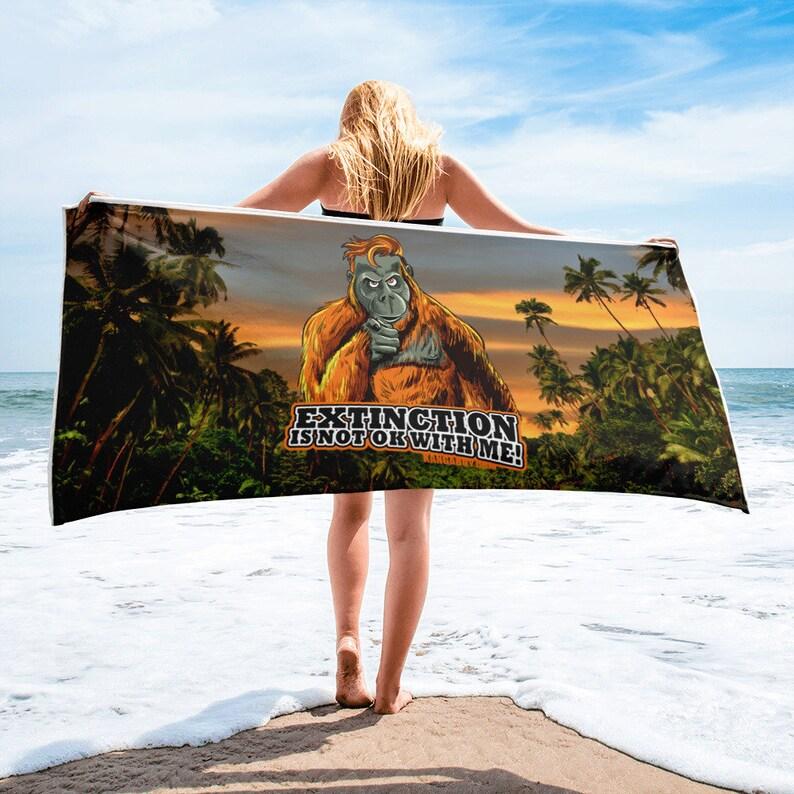 Orangutan Extinction Awareness Beach Towel image 0