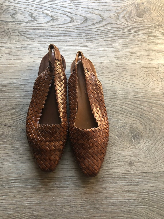 Vintage Woven Leather Slingback Flats  a4ae4817d