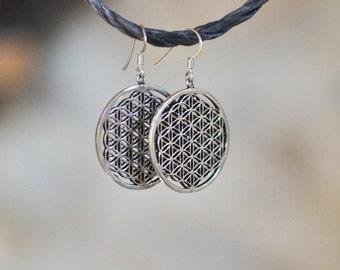 boucles d'oreille fleur de vie / argent 92.5