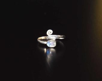 adjustable silver toe ring middle finger midi moonstone bague de pied bague d'orteil laiton ajustable dreadlocks pierre de lune