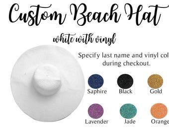 Custom Mrs Hat, Bride Hat, Beach hat, Custom floppy hat, Bride to be hat, Beach Bride, Just Married Hat, Honeymoon, Hat